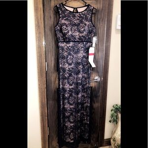 Formal Dress Petite Size 10P Navy Nude Sequin NEW